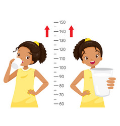 Dark girl drinking milk for health and taller vector