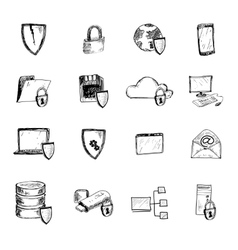 Data protection sketch icons vector image