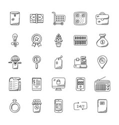 doodles set of shopping vector image