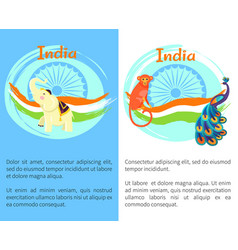 famous india symbols on set of bright posters vector image