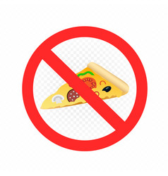 Fast food pizza prohibition sign vector