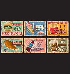 Fast food retro tin signs burger drinks dessert vector