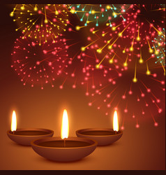 fireworks background with diwali diya vector image