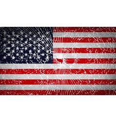 Flags USA with broken glass texture vector