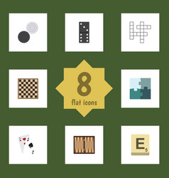 flat icon play set of guess dice ace and other vector image