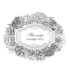 Floral frame flower greeting card border flourish vector