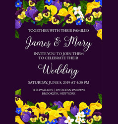 Flowers wedding party invitation card vector