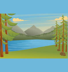 Forest landscape place for camping flat 2d vector