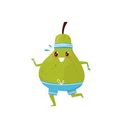 Funny green pear running sportive fruit cartoon vector