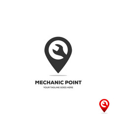 gear and wranch map location navigation logo vector image