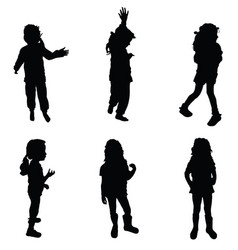 girl silhouette cute in various poses vector image