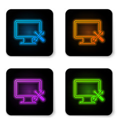 glowing neon computer monitor with screwdriver vector image