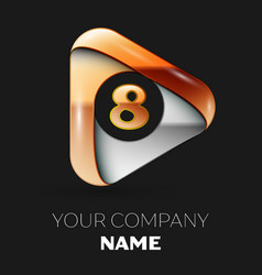 Golden number eight logo in golden-silver triangle vector