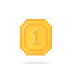 golden pixel art coin money for video game vector image