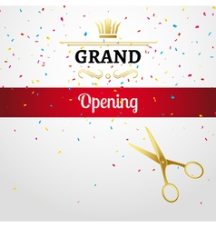 Grand Opening design template with ribbon and vector