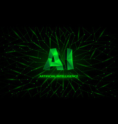 green polygonal artificial intelligence banner vector image