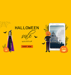 Halloween special offer sale banner with woman vector