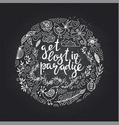hand drawn themed phrases modern style lettering vector image