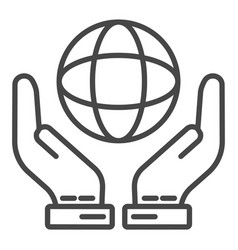 hand keep globe icon outline style vector image