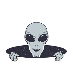 Happy alien peeps out from hole space vector
