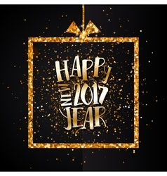 Happy new year 2017 golden banner vector image