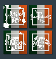 Happy saint patricks day lettering on flag set vector