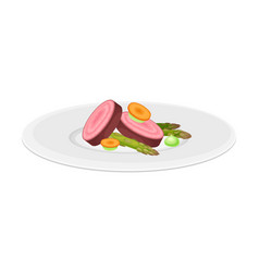 Haute cuisine with vegetables meticulously vector