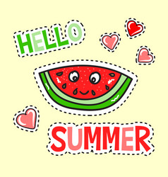 Hello summer poster with funny watermelon vector