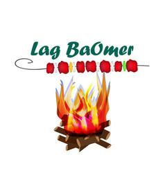 holiday lag baomer lag baomer big bonfire fire vector image