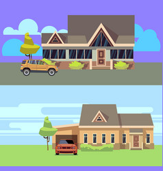 horizontal banners set with houses vector image