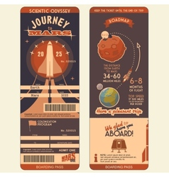 Journey to Mars boarding pass vector image