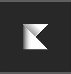 letter k logo initial from folded sheet of vector image