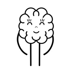 Line icon adorable kawaii brain expression vector