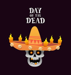 Mexican skull with sombrero and candles on a dark vector