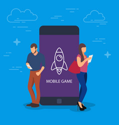 Mobile game concept people vector