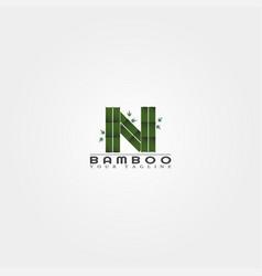 N letter bamboo logo template creative design vector