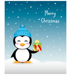 Nice christmas penguin with gift and winter hat vector