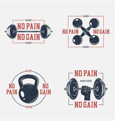 no pain gain t-shirt set vector image