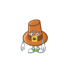 Object brown pilgrim hat with character afraid vector