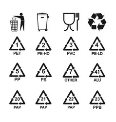 Packaging recycling icons set vector