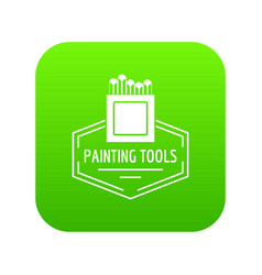 painting tool icon green vector image