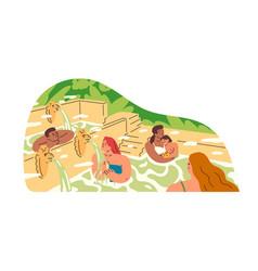 People relaxing and bathing in hot springs vector