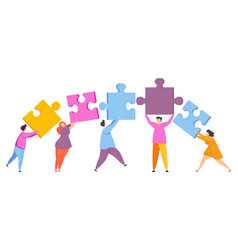 People with pieces puzzle vector