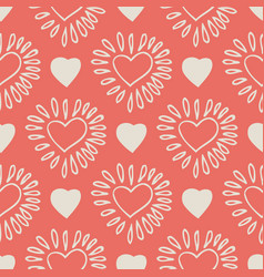 Pink seamless pattern with doddle hearts vector