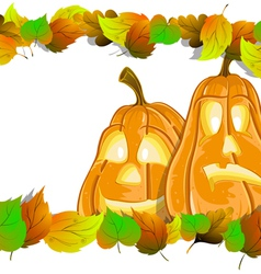 Pumpkin heads with leaves vector
