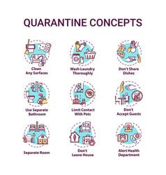 Quarantine concept icons set clean surfaces limit vector