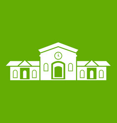Railway station building icon green vector