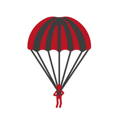 Red person flying with striped parachute graphic vector