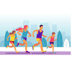 running family parents and children jogging in vector image