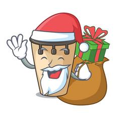 Santa with gift conga mascot cartoon style vector